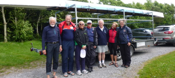 The happy crew with Frank Durkin of Offaly Rowing Club. From left: Walter, Giacomo, Homam, Christine, Frank, Heidi, Ruth. Thanks Antoinette for taking the photo.