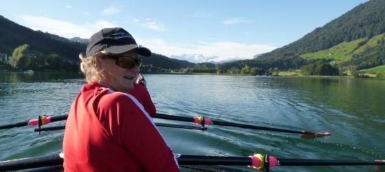 alps and lake Switzerland rowing